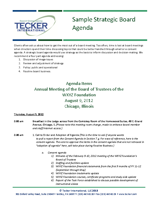 Strategy Feedback Meeting Agenda Template