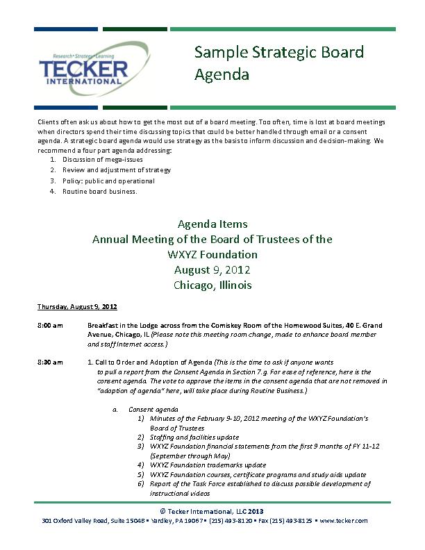 Strategy Feedback Meeting Agenda Template