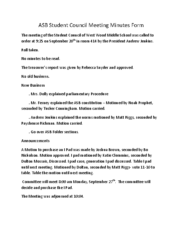 Student Council Meeting Minutes Form