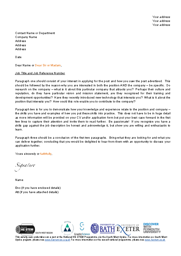 Student Cover Letter Template