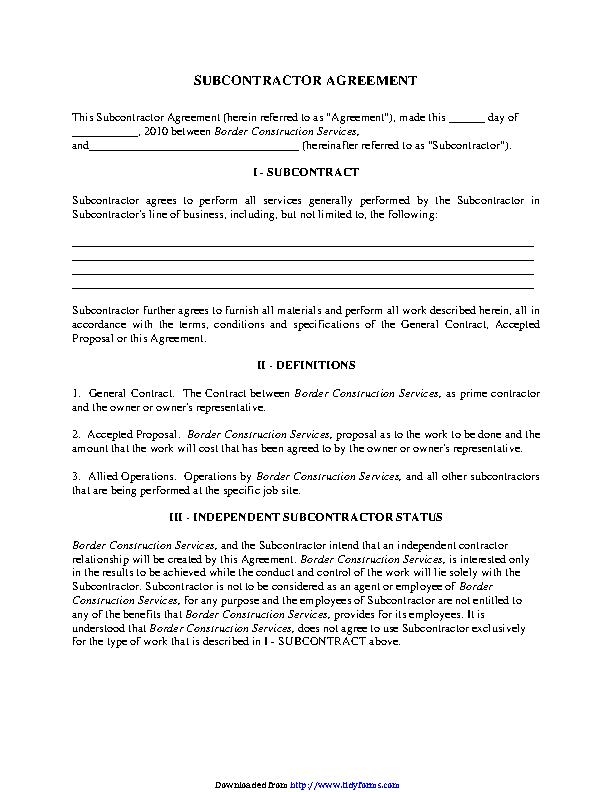 Subcontractor Agreement 1