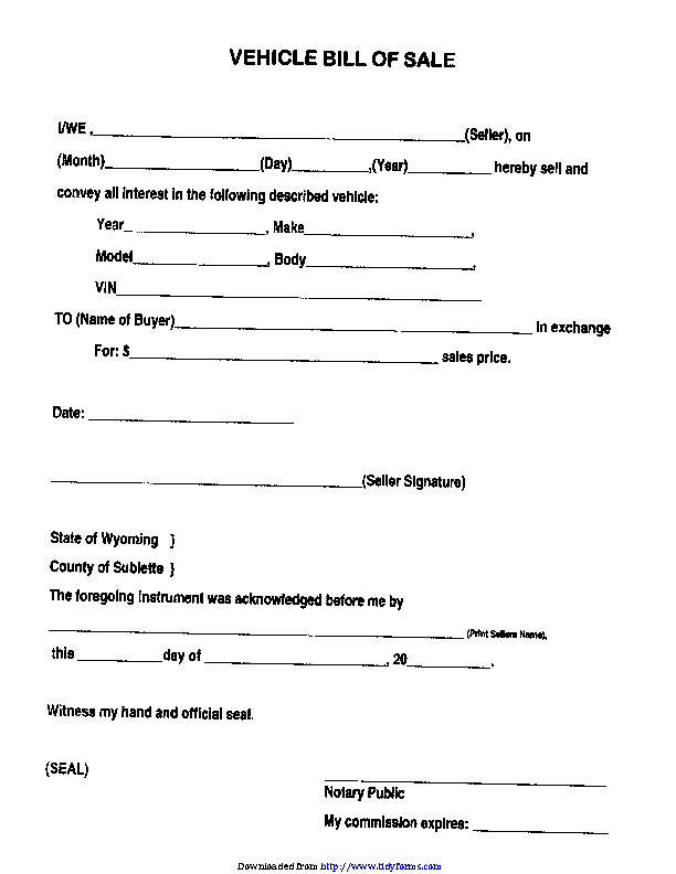 Sublette County Wyoming Bill Of Sale