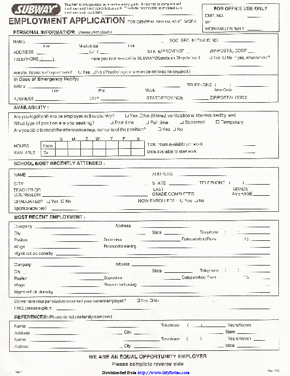 Subway Employment Form