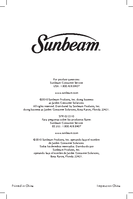 Sunbeam Owners Manual Sample