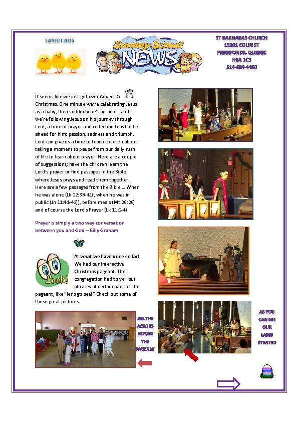 Sunday School Easter Newsletter