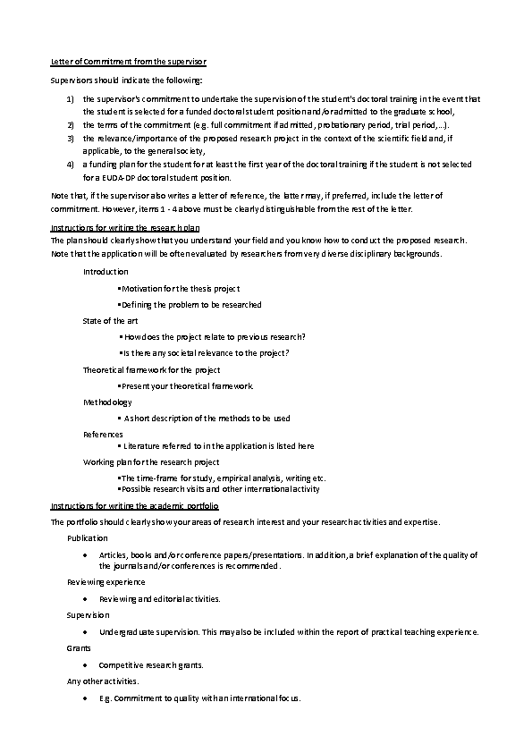 Supervisor Letter Of Instruction Template