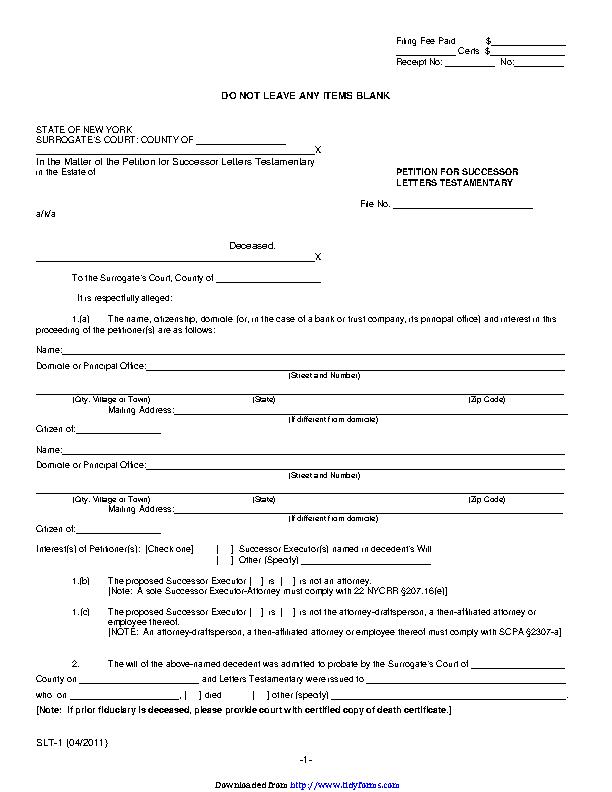 Surrogate P 14 Petition For Successor Letters Testamentary