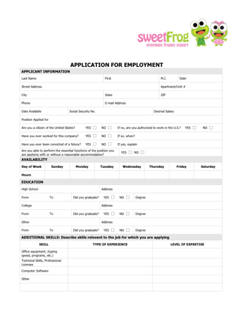 sweet frog job application PDF