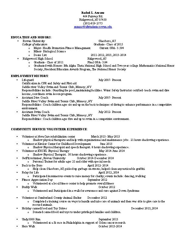 Swim Coach Resume
