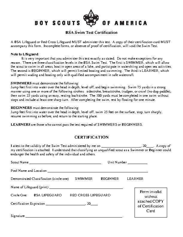 Swim Test Certificate Template