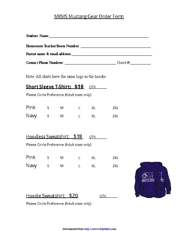T Shirt Order Form 1