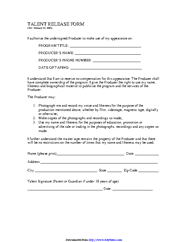 Talent Release Form 1