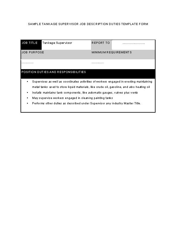 Tankage Supervisor Job Description