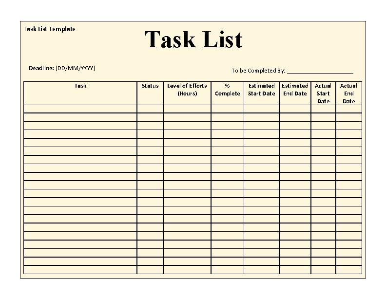 Task List Template 1