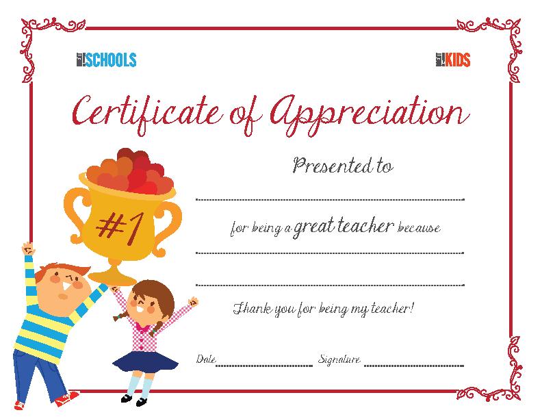 Teacher Appreciation Award Certificate
