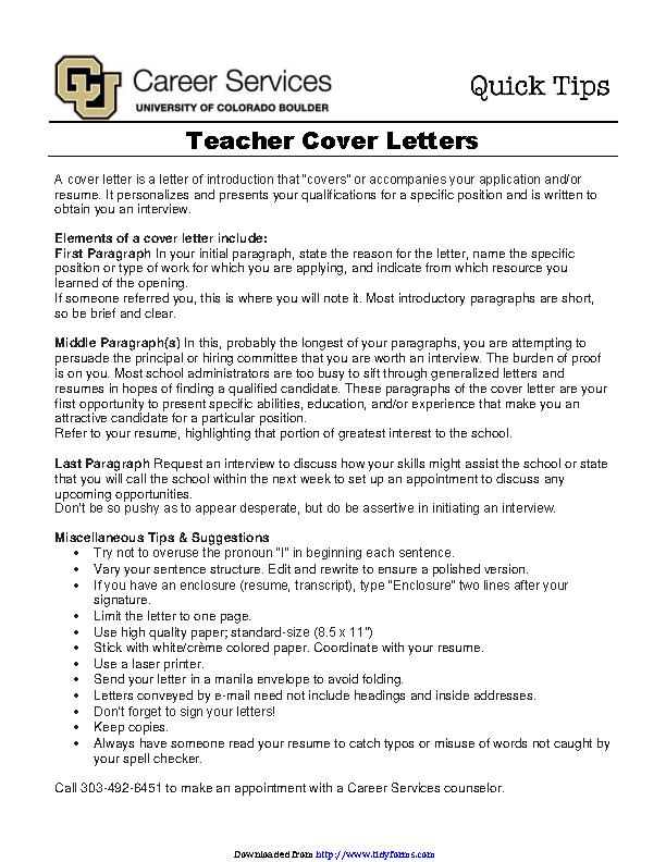 Teacher Cover Letters