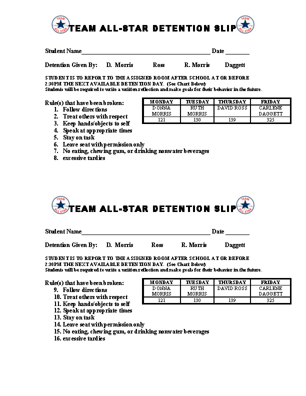Team All Star Dention Slip Slip Template Ms Word
