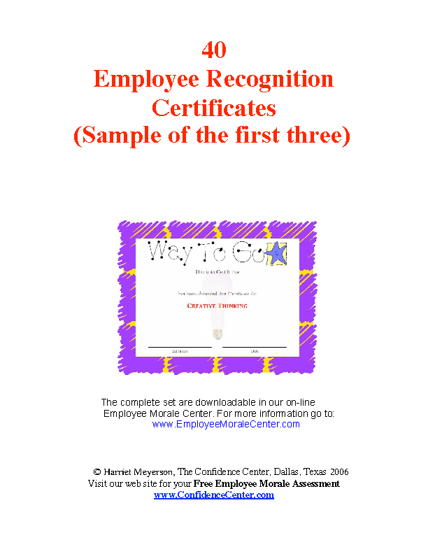 Team Member Recognition Certificate
