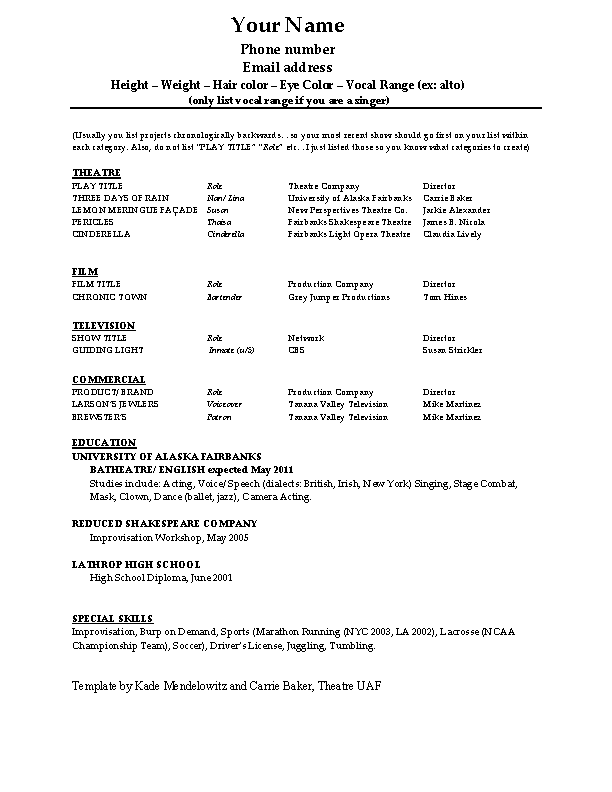 Technical Theatre Resume Template