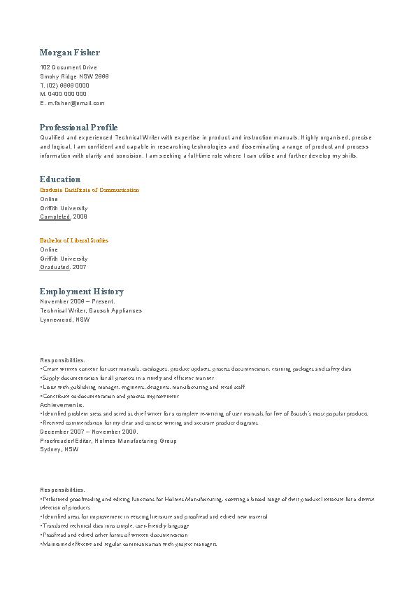 Technical Writer Fresher Resume