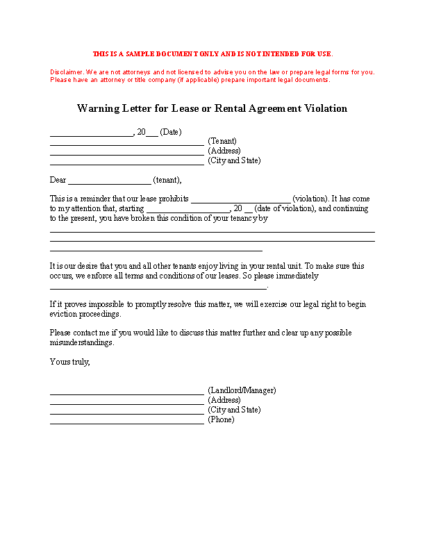 Tenant Warning Notice Template