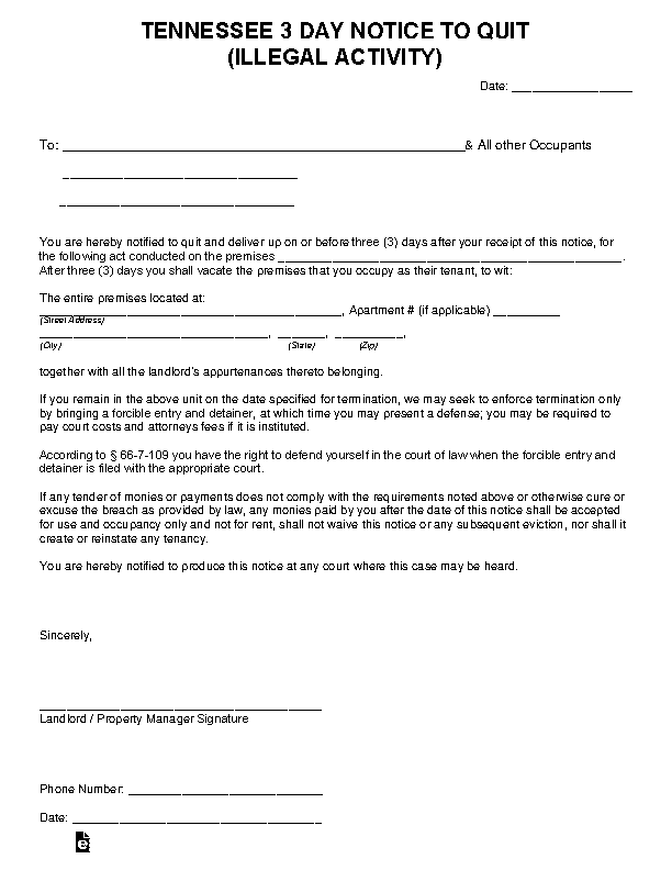 Tennessee 3 Day Notice To Quit Illegal Activity