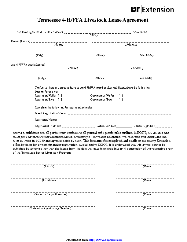 Tennessee 4 H Ffa Livestock Lease Agreement Form