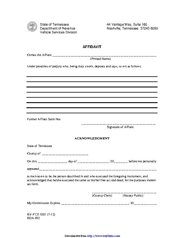 Tennessee Affidavit Form