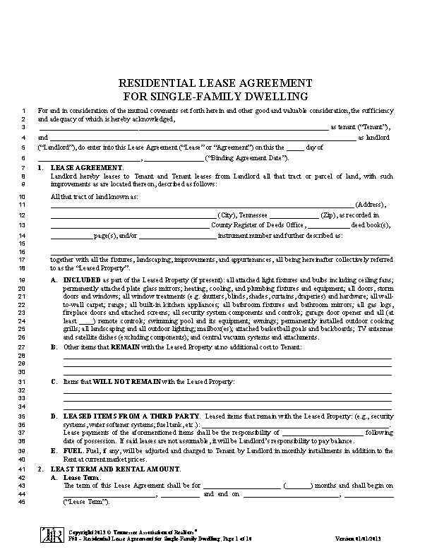 Tennessee Association Of Realtors Lease Agreement