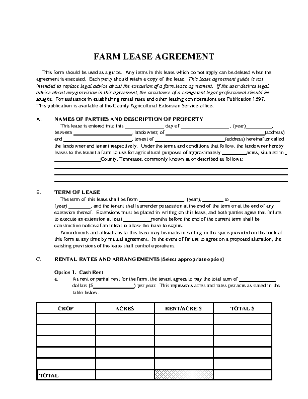 Tennessee Farm Lease Agreement Template