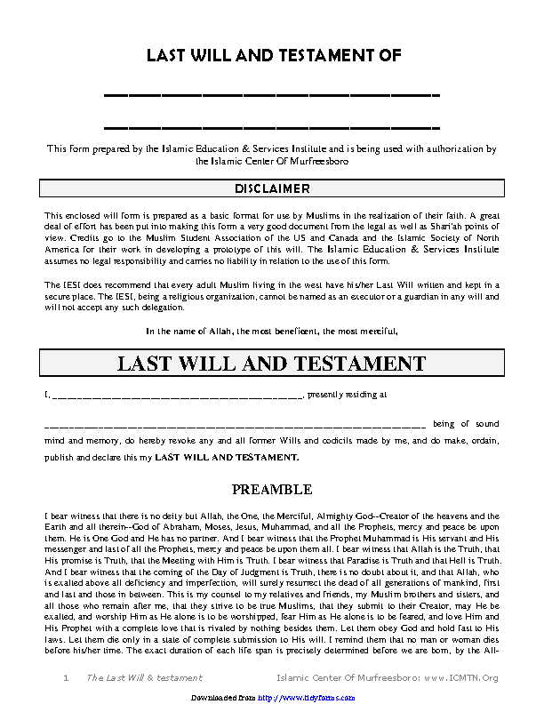 Tennessee Last Will And Testament Form