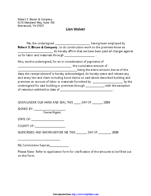 Tennessee Lien Waiver Form