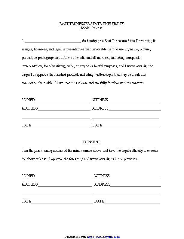 Tennessee Model Release Form 2