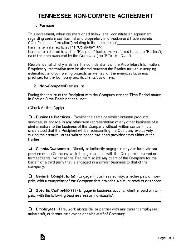 Tennessee Non Compete Agreement Template