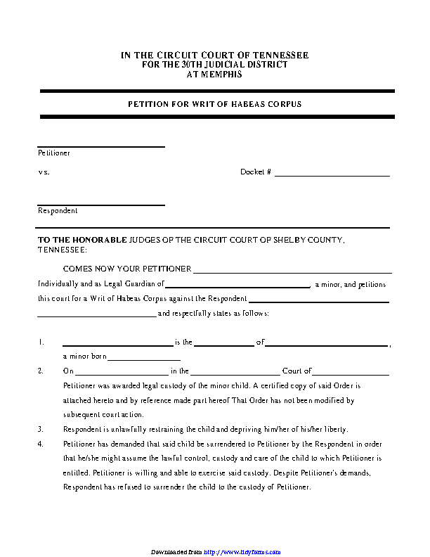 Tennessee Petition For Writ Of Habeas Corpus