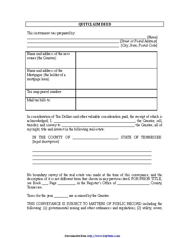 Tennessee Quitclaim Deed Form 2