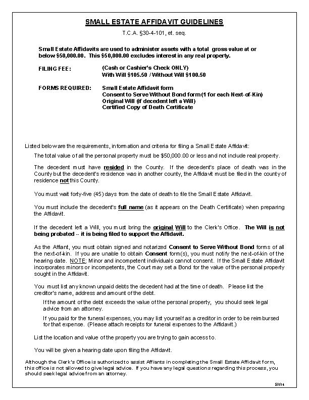 Tennessee Small Estate Affidavit Form