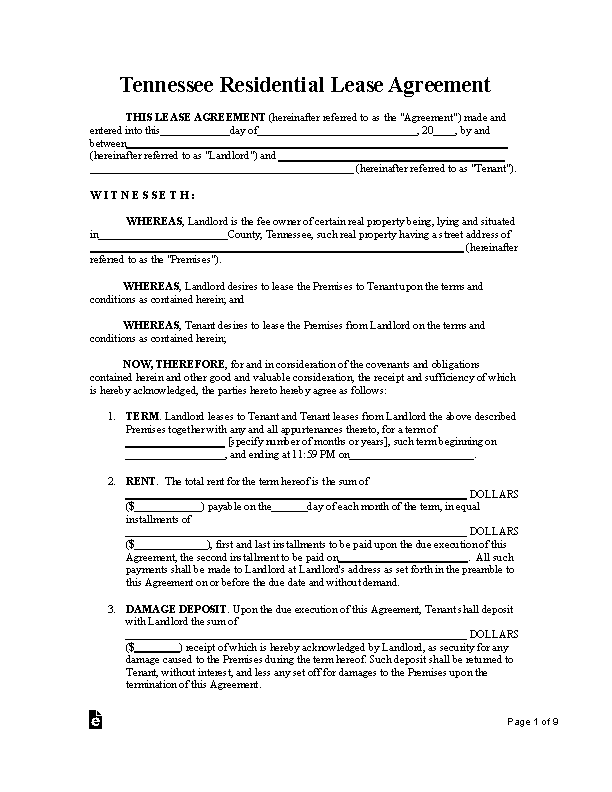 Tennessee Standard Residential Lease Agreement Form