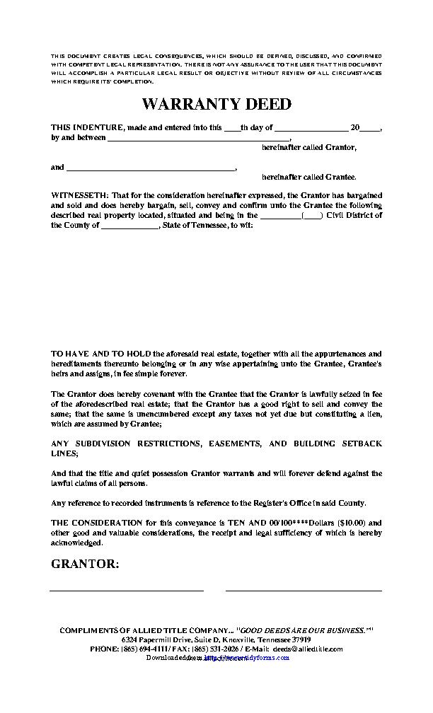 Tennessee Warranty Deed