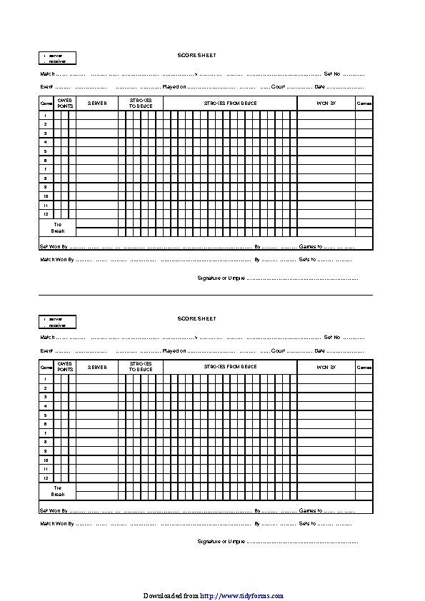 Tennis Score Sheet 1