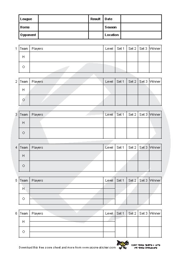 Tennis Score Sheet 2