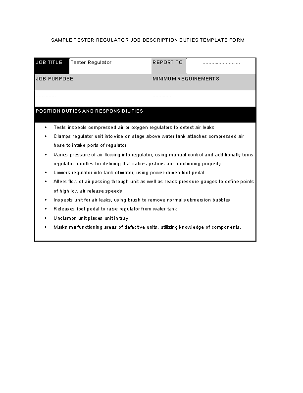 Tester Regulator Job Description