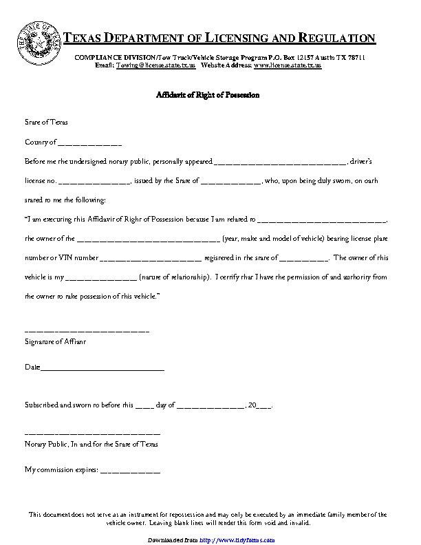 Texas Affidavit Of Right Of Possession