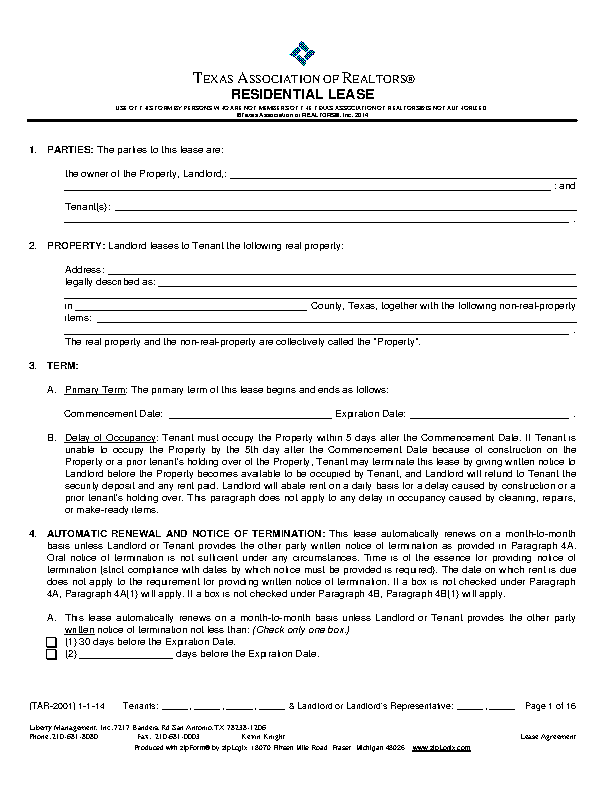 Texas Association Of Realtor Lease Agreement Form