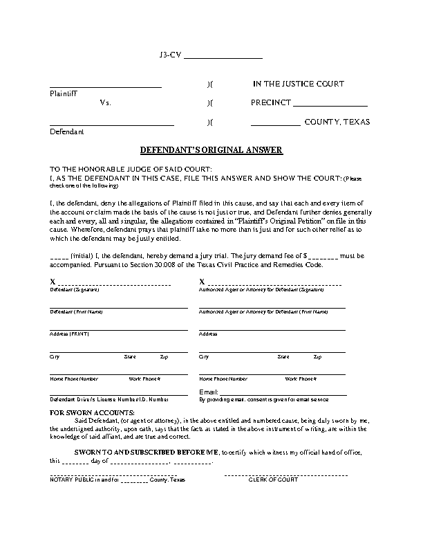 Texas Defendants Answer Form