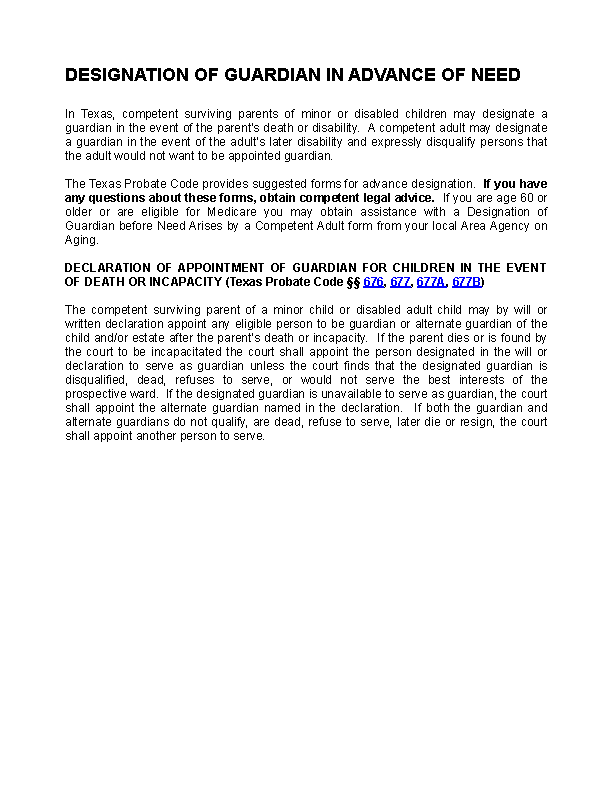 Texas Designation Of Guardian Due To Incapacitation