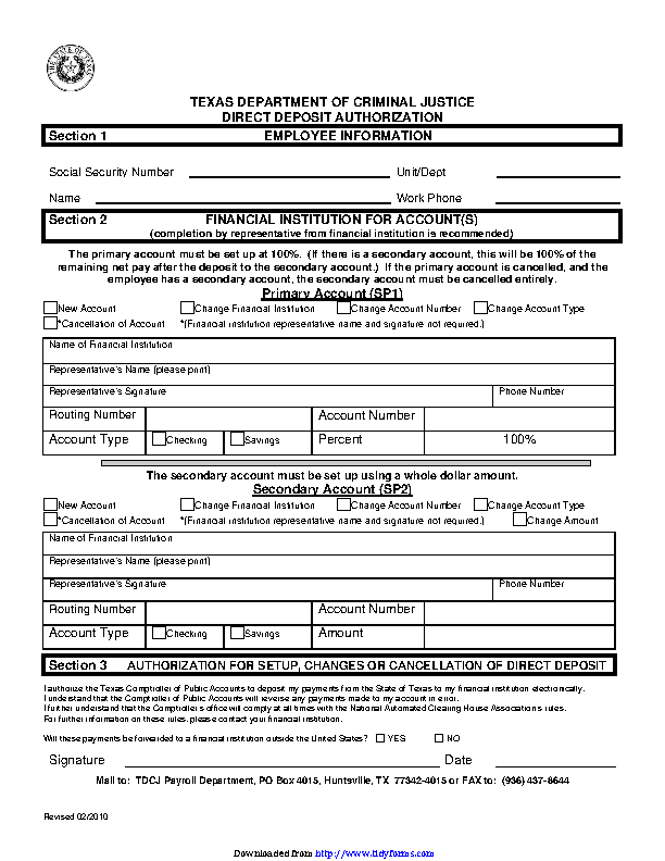 Texas Direct Deposit Form 1