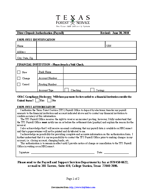 Texas Direct Deposit Form 3