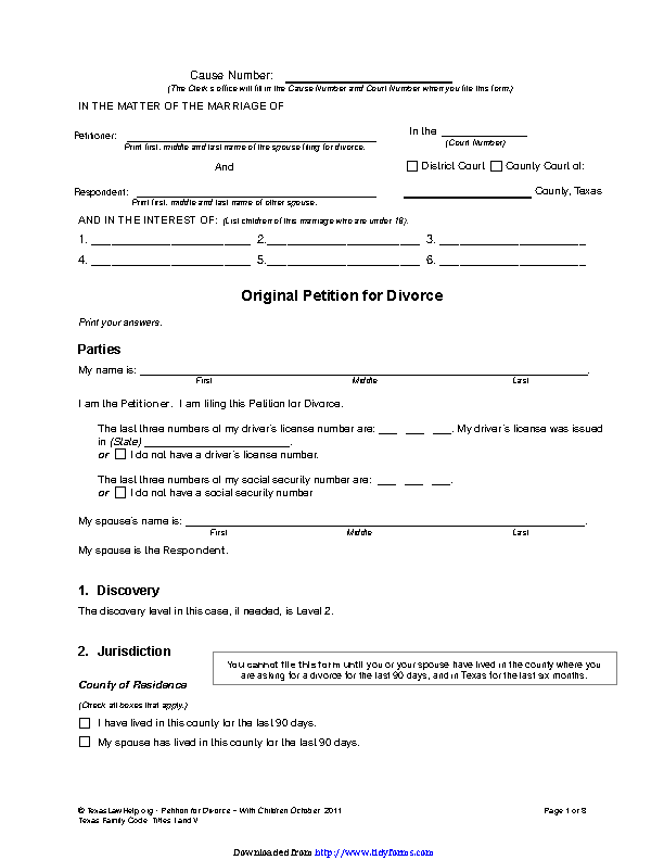 Texas Divorce Petition Form 1 With Children