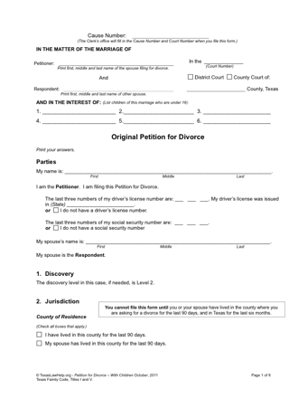 Texas Divorce Petition PDF